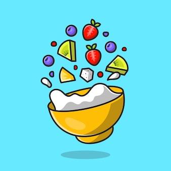 Floating salad fruit cartoon icon illustration.