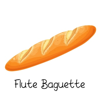 Flötenbaguette, brotikone. französische backwaren farbige abbildung.