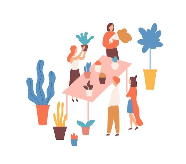 Flohmarkt, blumenmesse flache illustration. verkäuferinnen und käufer zeichentrickfiguren. zimmerpflanzenmarkt