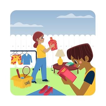Flohmarkt konzept illustration