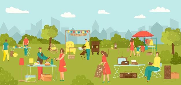 Flohmarkt, straßenmarkt mit kleidung