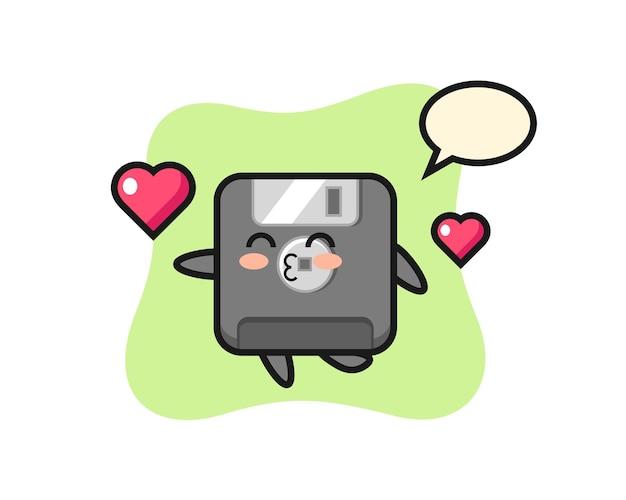 Floppy-disk-charakter-cartoon mit küssender geste, süßes design für t-shirt, aufkleber, logo-element