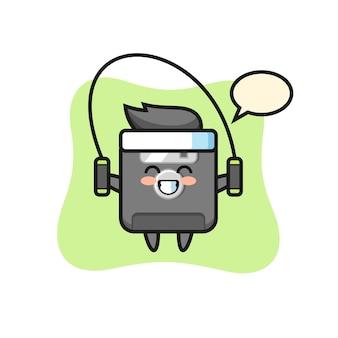 Floppy-disk-charakter-cartoon mit springseil, süßes design für t-shirt, aufkleber, logo-element