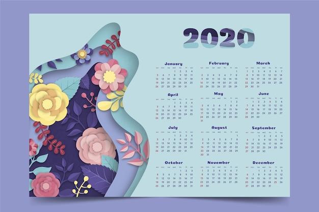 Floral 2020 kalendervorlage