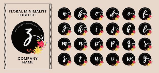 Floral alphabet logo set