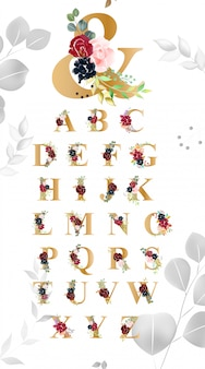 Floral alphabet schrifttypographie