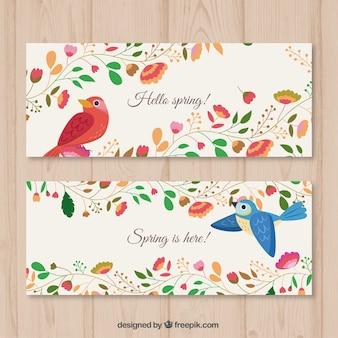 Floral banner mit vögeln