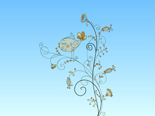 Floral blumendekoration vogelvektor
