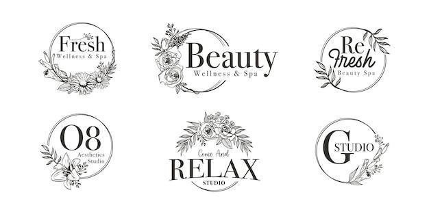 Floral border frame für hochzeit, spa, florist und boutique logo