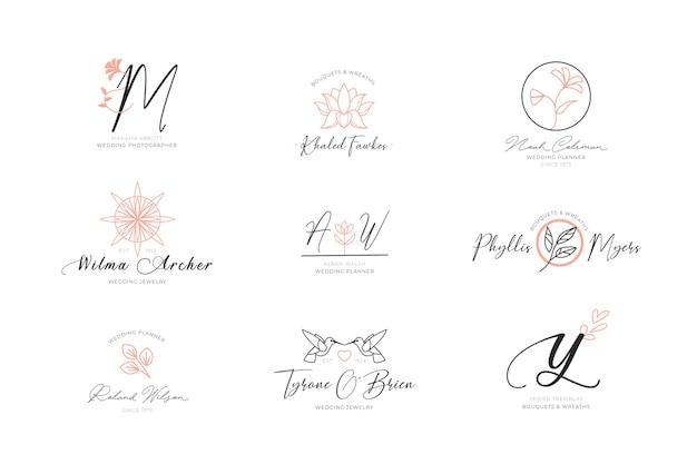 Floral elegante logos sammlung