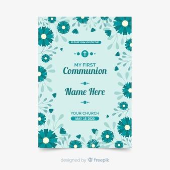 Floral erste kommunion einladungsvorlage