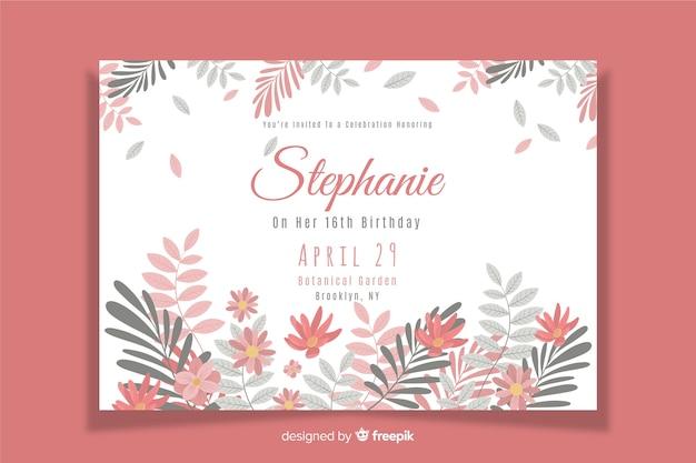 Floral geburtstag einladungsvorlage