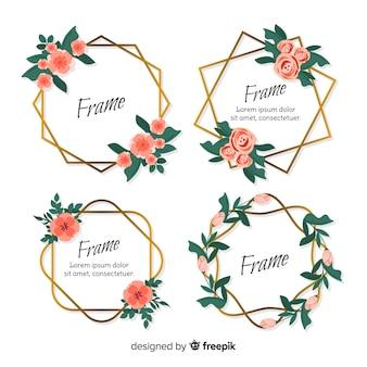Floral geometrischen rahmen gesetzt