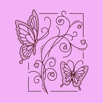 Floral Harmony Linie Kunst