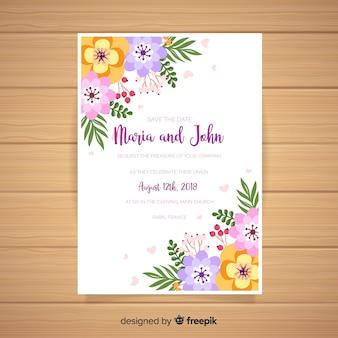 Floral hochzeitskarte vorlage