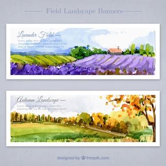 Floral landschaften in aquarell