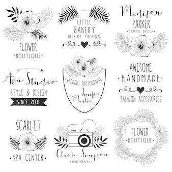 Floral logo-rahmen für hochzeit, branding.
