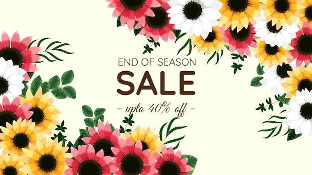 Floral mega savings discounts sale off shopping hintergrund etikettenvorlage mit weichen natürlichen blumen