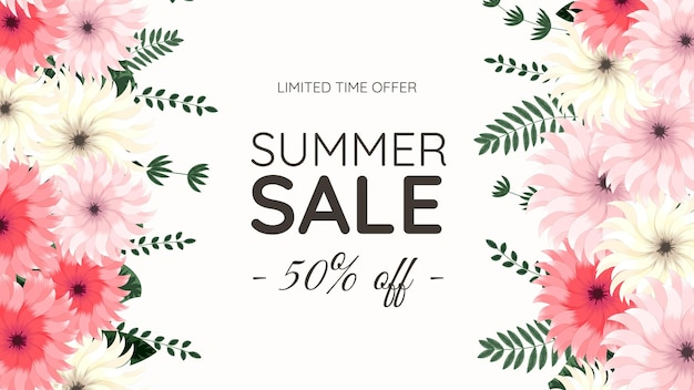 Floral mega savings summer sale off shopping hintergrundetikettenvorlage mit weichen natürlichen blumen