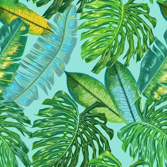 Floral nahtlose muster palmblätter