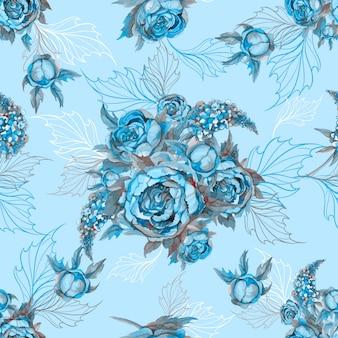 Floral nahtlose muster strauß rosen pfingstrosen und flieder.