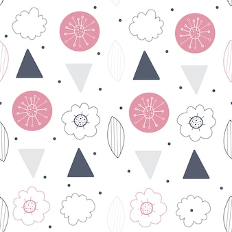 Floral nahtloser vektor-muster. skandinavischer hintergrund
