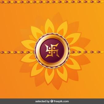 Floral orange und bordeaux rakhi hintergrund