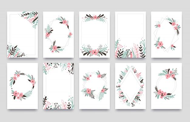 Floral ornament einladungskarte. weide treibt rahmengrenze, verzierungsrahmenecken und dekorative zweighochzeitskartenschablone blätter