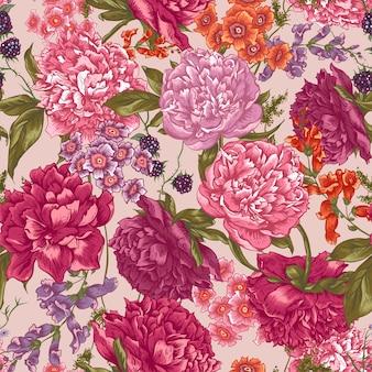 Floral seamless pattern mit pfingstrosen im vintage-stil