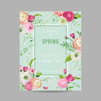 Floral spring design template für hochzeitseinladung, grußkarte, verkaufsbanner, poster, plakat, cover. frühlings-hintergrund mit rosa blumen. vektor-illustration