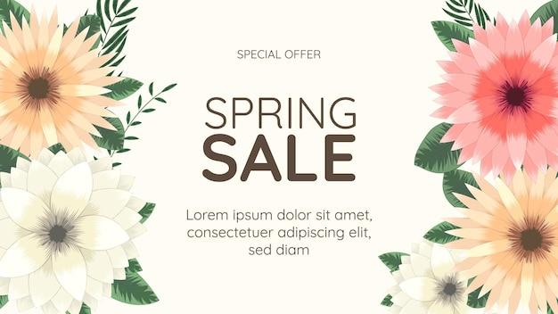 Floral spring sale off shopping hintergrundetikettenvorlage mit weichen natürlichen blumen
