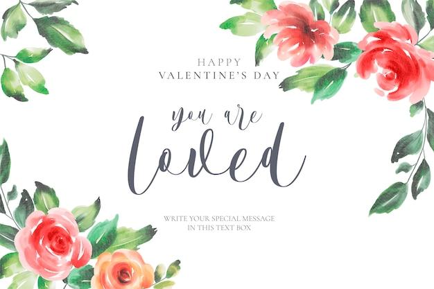 Floral valentinstag hintergrund mit liebesbotschaft