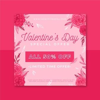 Floral valentinstag instagram post vorlage