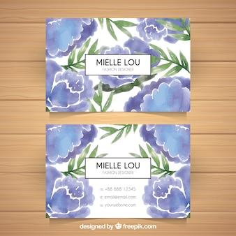 Floral visitenkarte in blauen tönen