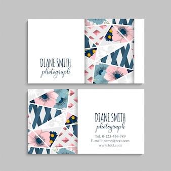 Floral visitenkarte mit geometrischen elementen