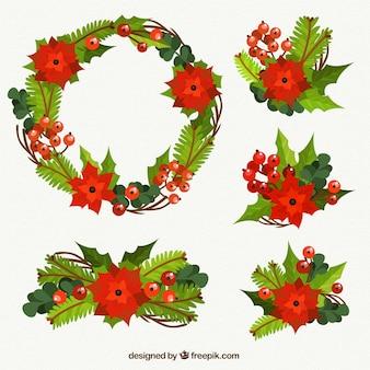 Floral Weihnachten Elemente