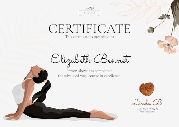 Floral yoga-zertifikat-vorlage im femininen stil