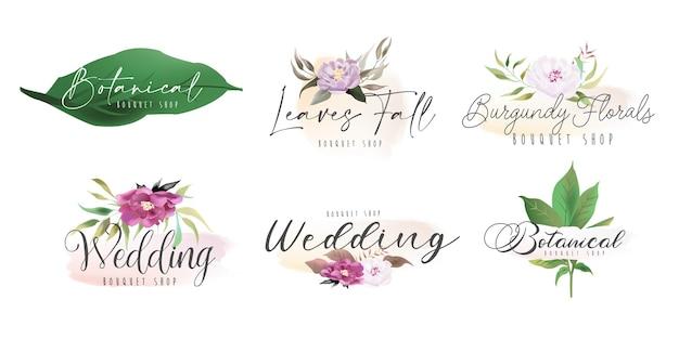 Florale botanische weibliche logo-sammlung