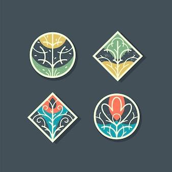 Florale dekorative gestaltungselemente, farbsatz von isolierten zieretiketten, aufkleber.
