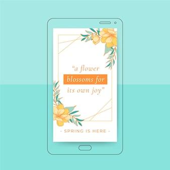 Florale elegante frühlings-instagram-geschichte