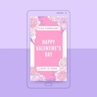 Florale elegante valentinstag instagram geschichte