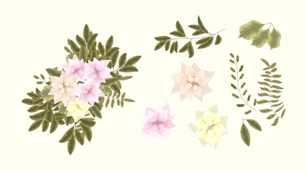 Florale elemente kollektion frühlingsblumen detaillierte clipart-elemente