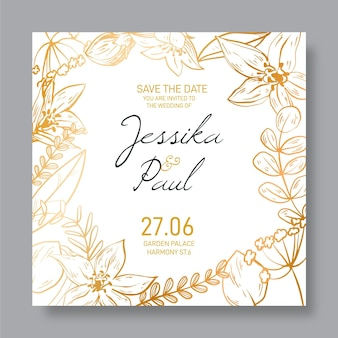 Florale goldene detaillierte hochzeitseinladungsschablone