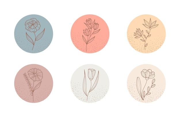 Florale instagram-highlights für online-websites in sozialen medien