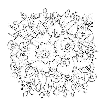 Florale schwarzweiss-färbung. lineare kunst. malvorlagen.
