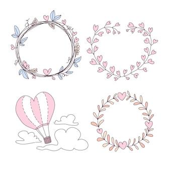 Florale valentinskränze und heißluftballon