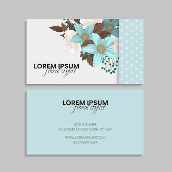 Florale visitenkarten in mintgrün