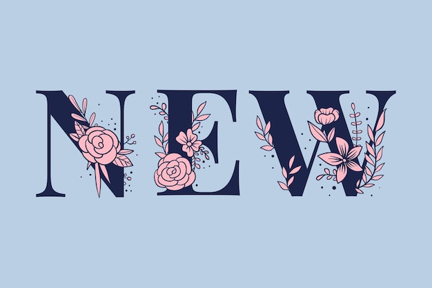 Floraler textvektor neue weibliche typografie-schriftart