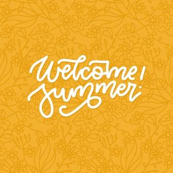 Floraler willkommens-sommer-schriftzug