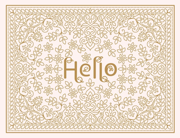 Florales design-vorlage mit schriftzug hallo